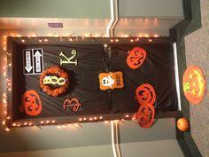 Halloween dorm door decorations.