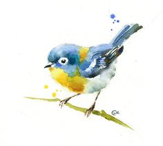 Little Bird Original unframed watercolor painting on a high quality 300 g/m - 140lb Acid Free Sennelier watercolor paper. Hand painted and