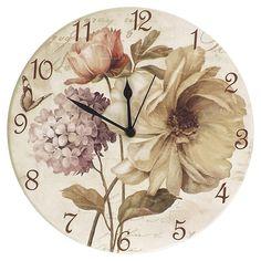 Relógio de Parede Flores Vintage em Madeira MDF - 28 cm | Carro de Mola - Decorar faz bem.