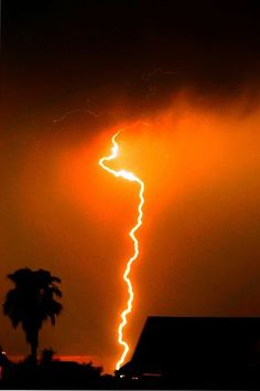 Orange lightning   | thunderstorm | | nature | | amazingnature |  #nature #amazingnature  https://biopop.com/