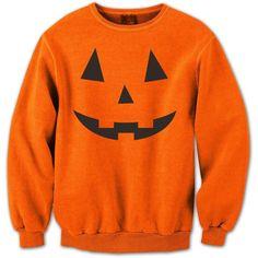 Adult Pumpkin Face Crewneck Sweatshirt ❤ liked on Polyvore featuring tops, hoodies, sweatshirts, crew top, crew neck sweatshirts, crewneck sweatshirt, crew neck top and crew-neck tops