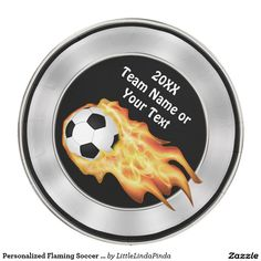 Custom Flaming Soccer Party Supplies, Paper Plates with your TEAM NAME, the YEAR and Your TEXT and COLORS. CLICK: http://www.zazzle.com/personalized_flaming_soccer_paper_plates_shindigzpaperplates-256583347283100673?rf=238147997806552929  More custom soccer party ideas HERE:http://www.zazzle.com/personalized_flaming_soccer_paper_plates_shindigzpaperplates-256583347283100673?rf=238147997806552929 Change black and white background and or the text colors.  CALL Linda for HELP: 239-949-9090.