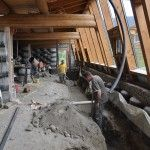 Darfield Earthship; graywater planters being installed