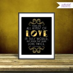 F. Scott Fitzgerald -  The Great Gatsby Quote Print, Printable art wall decor, Quote poster, Art Deco, Party Printable - Instant Download on Etsy, $4.99