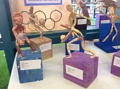 Olympic sports sculptures made with wire, plaster and foil Olympic Idea, Olympic Sports, Olympic Games, Middle School Art, Art School, Classe D'art, 6th Grade Art, Going For Gold, Greek Art
