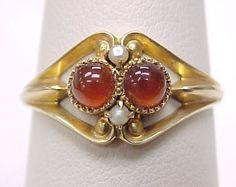 Victorian Carnelian & Seed Pearl Ring 10k, Hayden Wheeler NY NY