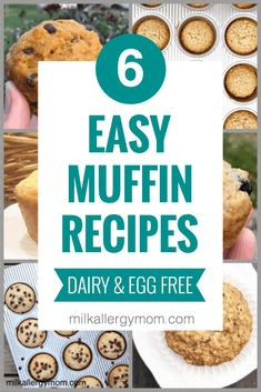 You and your kiddos will love these popular dairy and egg free muffin recipes at Milk Allergy Mom! Click for all six! Egg Free Recipes, Muffin Recipes, Dog Food Recipes, Milk Allergy Baby, Egg Free Muffins, Meals Kids Love, Dairy Free Baking, Simple Muffin Recipe, Pumpkin Chocolate Chip Muffins