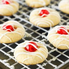 Cherry Almond Cookies - These adorable little cookies are one tasty treat!  Perfect for Christmas cookie trays!
