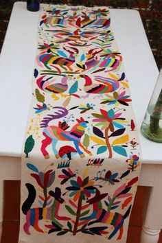 Multi colored Otomi Runner by CasaOtomi on Etsy Mexico, Tenango, mexican wedding, textile, mexican suzani, suzani, embroidery, hand embroidered, otomi, www.casaotomi.com, otomi, table runner, fiber art, mexican, handmade, original, authetic, textile , mexico casa, mexican decor, mexican interior, frida, kahlo, mexican folk,  folk art, mexican house, mexican home, puebla collection, las flores, travel tote, boho, tote, handbag, purse, cushion, serape