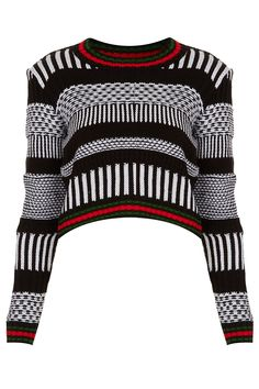 KNITTED MONO MORROCAN CROP JUMPER
