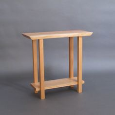 Live Edge Narrow Table with Low Shelf: pictured in cherry, small entry table, narrow side table, narrow accent table- handmade modern wood furniture Small Entry Tables, Wood Entry Table, Narrow Side Table, Small Accent Tables, Wood End Tables, A Table, Side Tables, Console Tables, Table Lamps