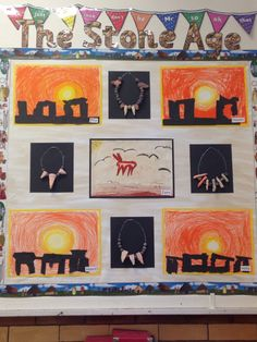 Stone Age art by year 3. Stonehenge silhouettes on sunrise backgrounds, clay necklaces on wire and tea stained cave painting.