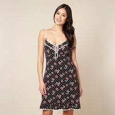 Floozie by Frost French Designer black cherry print chemise- at  Debenhams.com 2fab3c350