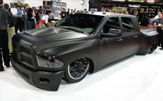 Dodge Ram Blacked Out Ram Dualie Pickup Truck Lowered