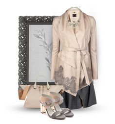 """""""Grey and beige"""" by gadgetgirltheoriginal ❤ liked on Polyvore featuring Carven, Aula Aila, Chloé, Plomo, Accessorize, women's clothing, women's fashion, women, female and woman"""
