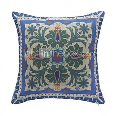 Floral Pattern Cotton Decorative Pillow Cover