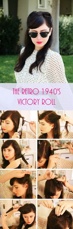 DIY Hairstyle   The Retro 1940's Victory Roll   Step-By-Step Tutorial