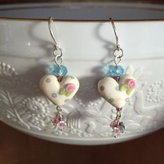 Pink Roses Heart Earrings by WithTheseHandsCreate on Etsy