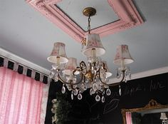 Fun ways to use empty frames (love the ceiling medallion idea)