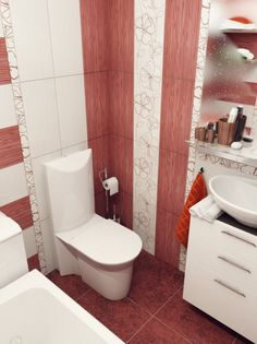 Elegant Design Ideas for Small Bathroom: Red White Bathroom Design ~ Bathroom Inspiration Bathroom Designs Images, Bathroom Tile Designs, Bathroom Design Small, Bathroom Interior Design, Small Bathroom Plans, Small Bathroom Ideas On A Budget, Modern Small Bathrooms, Budget Bathroom, Girl Bathroom Decor