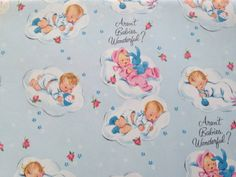 Vintage Gift Wrapping Paper - Slumbering Babies Baby Shower Wrap - Boys and Girls - 1 Unused Full Sheet