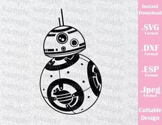 BB8 Star Wars Inspired Cutting File in SVG, ESP, DXF and JPEG Format