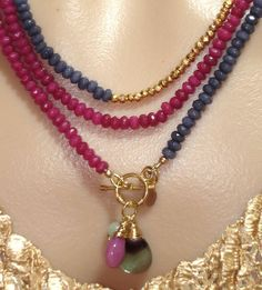 Ashira Fuchsia Rose Jade and Iolite Blue Jade, Gold Pyrite Gemstone Necklace with Charms