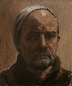 Another self-portrait I painted today in oil on board...