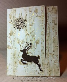 Georgeann Manning: Stampin' Everything – Jolly Christmas Woodland Embossing Folder Christmas Card - 8/12/15. (SU Holiday 2015: stamps - Jolly Christmas, Flurry of Wishes [inside]; EF: Woodland Textured; Wood Snowflake. Annual: stamps - Lovely as a Tree, Gorgeous Grunge; ink - Crumb Cake, Early Espresso; Whisper White cs + thick cs). (Pin#1: Christmas: Reindeer. Pin+: Christmas: Trees).