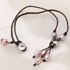 Leather and Pearl Jewelry Pearl Leather by jewelrystorylove