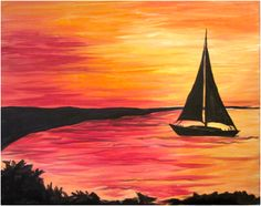 Muse Paintbar - Tuesday, 4/14/15 - Lakeside Sunset - 7:00-9:15 PM* - Gear up for summertime sunsets by the lake with painting & good times at Muse!  - Manchester, NH - $35/painter