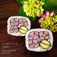 『あじさい』の飾り巻き寿司 日本デコずし協会のデザイン◡̈♥︎