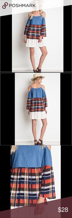 """Plaid and Lace Boutique Dress Cold Shoulder Plaid and Lace Dress. Denim Blue. Model is 5'8"""" and wearing a Small. Size Small fits a 2/4. Medium fits a 6/8. Large fits a 10/12. Dresses Mini"""