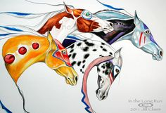 Native War Hunt Horses Art Painting Jill Claire by JillClaireArt