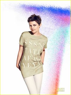 Pixie hair, fitted pants, long t-shirt ~ lovely feminine casual look!