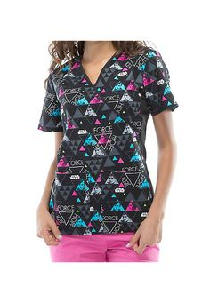 Star Wars fans will rejoice over this cool print scrub top from Cherokee! The A New Hope top features characters from Star Wars, plus a mock wrap design with slimming soft knit side panels and two roomy pockets to hold your accessories.