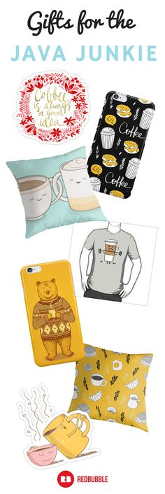 The perfect gifts for that jittery, Starbucks addict! Here are artist-designed gifts for the java junkie. #coffeegifts