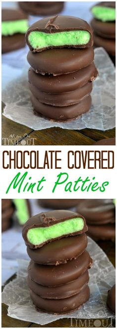 Rich and creamy, these Chocolate Covered Mint Patties are so easy to make and are incredibly scrumptious! | MomOnTimeout.com | #dessert #recipe #chocolate