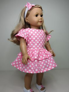American Girl doll clothes Pink party dress with by JazzyDollDuds