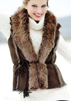 Coyote Faux Fur-Lined Suede Vest