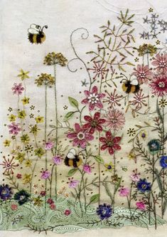 Make cards like: BugArt ~ Bee's Meadow. Amy's Cards *NEW* Original embroideries by Amy Butcher. Cards designed by Jane Crowther. Free Motion Embroidery, Hand Embroidery Stitches, Crewel Embroidery, Embroidery Applique, Cross Stitch Embroidery, Machine Embroidery, Embroidery Designs, Swedish Embroidery, Art Carte