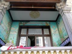 Balcony in Blankenberge, Belgium. Belle Epoque architectural style.