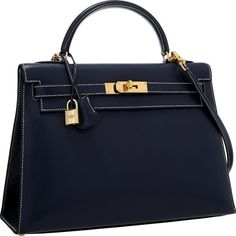 Luxury Accessories:Bags, Hermes Special Order 32cm Indigo & Blue Thalassa Veau GraineLisse Leather Sellier Kelly Bag with Gold Hardware .Excellen...