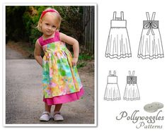 Dress Pattern  Girls  Daphne Marie  1-10Y by PollywogglesPatterns