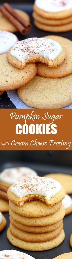 Pumpkin Sugar Cookies with Cream Cheese Frosting  – these crunchy sugar cookies with pumpkin and cream cheese frosting are perfect for fall and upcoming holidays, like Thanksgiving.
