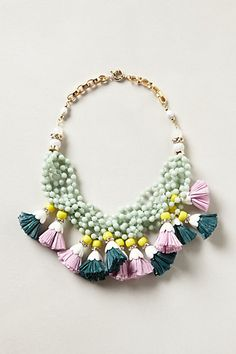 """Tasseled Strands Necklace USD58 (DETAILS: Spring ring clasp. Acrylic, glass, metal, raffia. 18.5""""L. 3"""" bib. Imported. Style #: 28136638)   Anthropologie"""