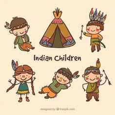 Hand painted indian children pack Free Vector