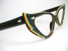 df71512f2f Wild Vintage Colorful Cat eye Eyeglasses Frame 1950s 1960s France