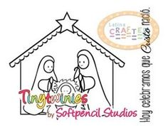"""""""Christmas Nativity"""" is a super cute image by Elizabeth Pujalka from Softpencil Studios for Latina Crafter. You can't celebrate Christmas without Christ, so here the solution for your Christmas cards. You can use it for your cards and other paper crafts."""