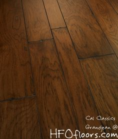 """Estate Collection Grandjean 4""""/6""""/8"""" hickory artisan wire-brushed and distressed hardwood. Available at HFOfloors.com."""